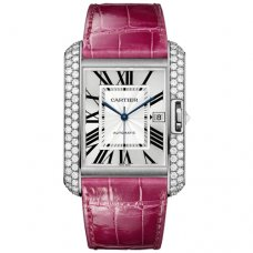 Cartier Tank Anglaise extra large diamond watch WT100023 18K white gold fuschia leather strap