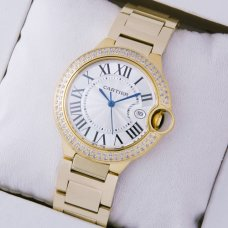 Ballon Bleu de Cartier medium swiss quartz watch diamonds 18kt yellow gold