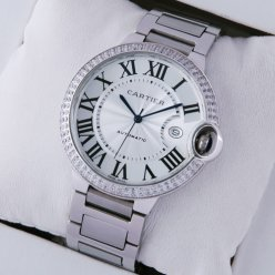 Ballon Bleu de Cartier WE9009Z3 large diamond watch replica stainless steel