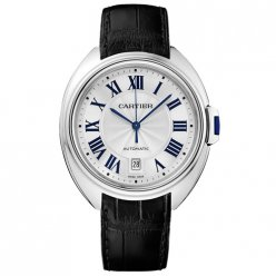 Clé de Cartier 40mm 18K white gold WGCL0005 mens watch with black leather strap