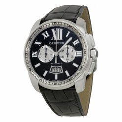 Calibre de Cartier Chronograph replica watch W7100060 steel black dial and leather strap