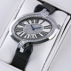Delices de Cartier replica diamond watch for women steel black fabric strap