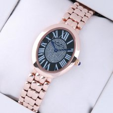 Cartier Baignoire pink gold womens replica watch with black diamond dial