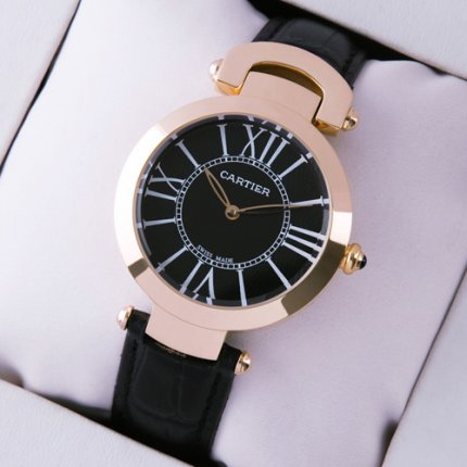 Ronde Solo de Cartier replica watch for women pink gold black dial and leather strap