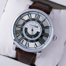 Rotonde de Cartier large brown leather strap steel replica watch for men W1556051
