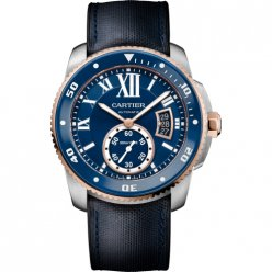 Calibre de Cartier Diver blue watch pink gold steel leather and rubber strap W2CA0008