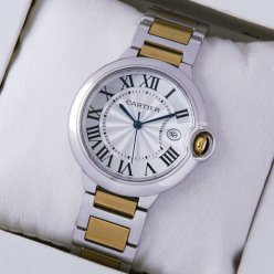 Ballon Bleu de Cartier medium date quartz watch two-tone 18kt yellow gold and steel