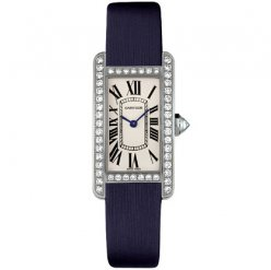 Cartier Tank Americaine diamond small watch for women WB707331 steel blue satin strap