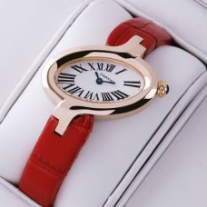 Delices de Cartier replica watch for women 18K pink gold leather strap