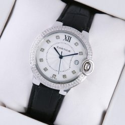 Ballon Bleu de Cartier medium steel watch with two rows diamonds black leather strap