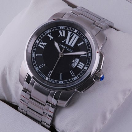 Calibre de Cartier quartz replica watch for men stainless steel black dial
