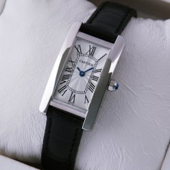 Cartier Tank Americaine small womens watch W2601956 18K white gold black leather strap