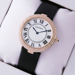 Ronde Solo de Cartier diamond watch for women pink gold black stain strap