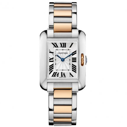 Cartier Tank Anglaise small watch for women W5310036 two-tone pink gold and steel