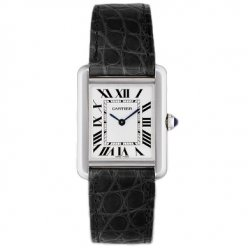 Cartier Tank Solo small ladies watch replica W5200005 stainless steel black leather strap