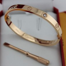 Cartier Love pink gold diamond bracelet imitation with screw driver B6036016