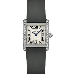 Cartier Tank Francaise diamond ladies watch WE100231 steel black stain strap