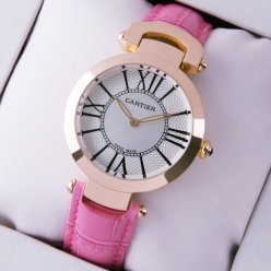 Ronde Solo de Cartier replica watch for women pink gold silver dial pink leather strap