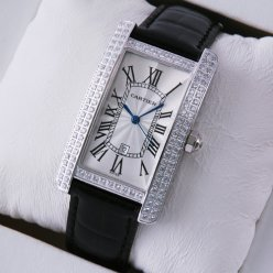 Cartier Tank Americaine diamond mens watch stainless steel black leather strap