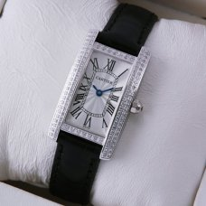 Cartier Tank Americaine diamond small watch for women steel black leather strap