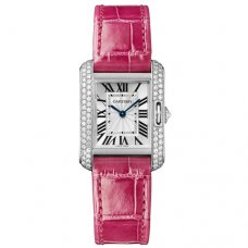 Cartier Tank Anglaise small diamond watch WT100015 18K white gold leather strap