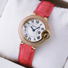 Ballon Bleu de Cartier small quartz pink gold watch with diamond bezel leather strap