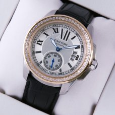 Calibre de Cartier automatic diamond watch two-tone pink gold and steel black leather strap