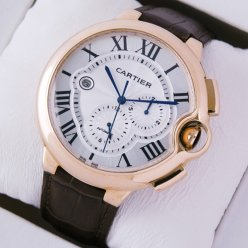 Ballon Bleu de Cartier extra large chronograph watch W6920009 automatic 18K pink gold