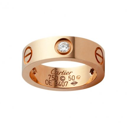 Cartier Love pink gold ring imitation B4087500 with three diamonds