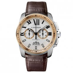 Calibre de Cartier Chronograph watch W7100043 pink gold and steel brown leather strap
