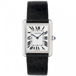 Cartier Tank Solo large mens watch replica W5200003 steel black leather strap