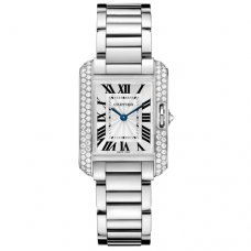Cartier Tank Anglaise small diamond watch for women WT100008 18K white gold
