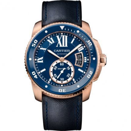 Calibre de Cartier Diver blue watch 18K pink gold leather and rubber strap WGCA0009