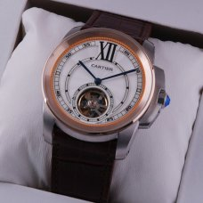 Calibre de Cartier Flying Tourbillon mens watch two-tone pink gold and steel brown leather strap
