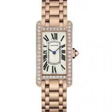 Cartier Tank Americaine diamond small 18K pink gold watch for women WB7079M5