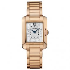 Cartier Tank Anglaise small diamond watch for women WJTA0004 18K pink gold