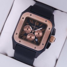 Cartier Santos 100 Chronograph Limited Edition mens watch tow-tone pink gold and black