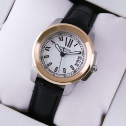 Calibre de Cartier womens watch silver dial two-tone pink gold and steel black leather strap