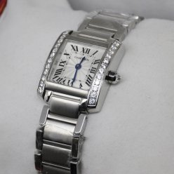 Cartier Tank Francaise 18K white gold swiss watch with diamonds for women