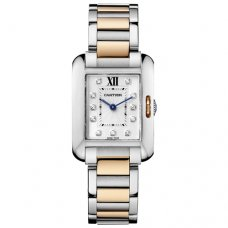 Cartier Tank Anglaise small diamond watch WT100024 two-tone pink gold and steel