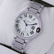 Ballon Bleu de Cartier medium steel watch with diamonds on bezel