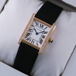 Cartier Tank Solo small swiss diamond watch replica 18K pink gold black stain strap