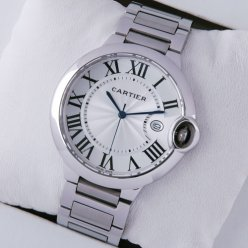 Ballon Bleu de Cartier large watch replica silver dial stainless steel
