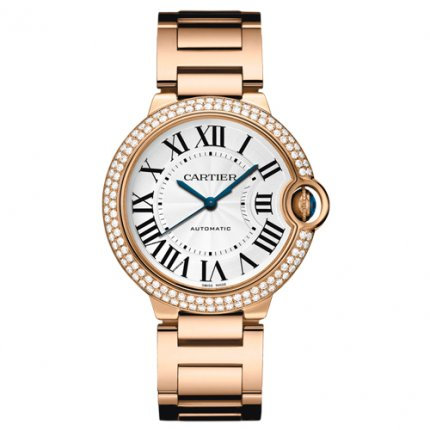 Ballon Bleu de Cartier medium swiss automatic watch 18kt pink gold diamonds bezel