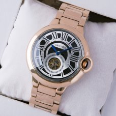 Ballon Bleu de Cartier Flying Tourbillon extra large watch replica black dial 18K pink gold