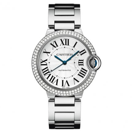 Ballon Bleu de Cartier medium swiss automatic watch 18kt white gold diamonds bezel