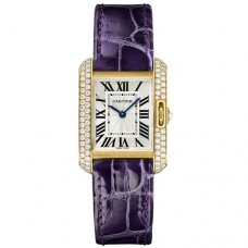 Cartier Tank Anglaise small diamond watch WT100014 18K yellow gold leather strap