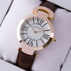 Ronde Solo de Cartier replica watch for women pink gold silver dial brown leather strap