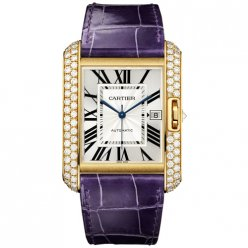 Cartier Tank Anglaise extra large diamond watch WT100022 18K yellow gold blue leather strap