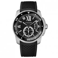 Calibre de Cartier Diver replica watch W7100056 steel black rubber strap